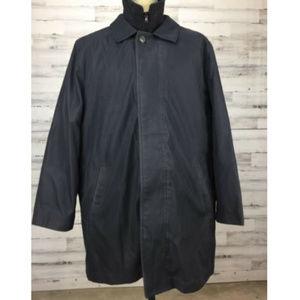 Chaps Black Car Coat Mens Size 46R Large Wool Nylo